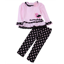 Sweet Girls Twinset Long Sleeve Mesh Edge Chick Print Baby