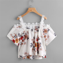 BESSKY Women Short Sleeve Off Shoulder Lace Floral Blouse Casual Tops T-Shirt_
