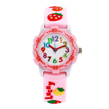 Keymao Strawberry Plastic Waterproof 3D Cute Cartoon  Silicone Wristwatches Gift for Little Girls Boy Kids Children Pink