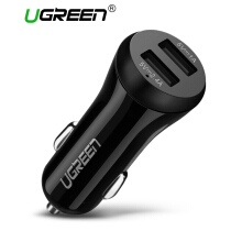 UGREEN Car Charger Dual USB 17W(3.4A) Vehicle Charger Smart Port Portable Travel Charger Black