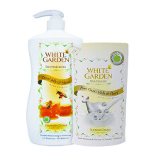 WHITE GARDEN Shower Cream Royal Jelly 1100ml (Free Pure Goat's Milk & Pearl Refill 900ml)