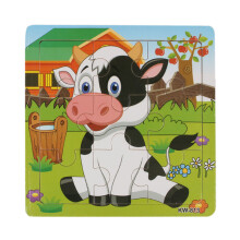 BESSKY Wooden Dairy Cow Jigsaw Toys Learning Puzzles - White