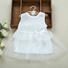 Sweet Baby Girls Dress Round Neck Sleeveless Lace Gauze