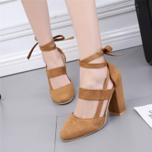 BESSKY Women Party Suede Strappy Thick High Heels Sandals Classic Plus Shoes _