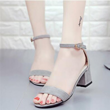 BESSKY Women Single Band Chunky Heel Sandal With Ankle Strap Summer Sandals Shoes_