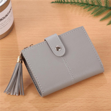 BESSKY Women Simple Short Wallet Tassel Coin Purse Card Holders Handbag_