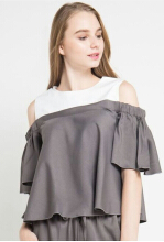 Rianty Basic Atasan Wanita Blouse Meilin - Black and white White Black All Size