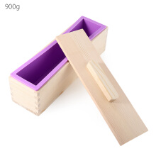 Rectangular Solid DIY Handmade Silicone Soap Mold Wooden Box with Cover-1200g