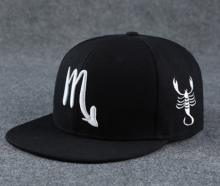 BAI B-111 Adjustable Baseball Cap MBL Hiphop cap with Scorpio design black&white color