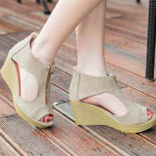 BESSKY Women Shoes Summer Sandals Casual Peep Toe Platform Wedges Sandals Shoes _