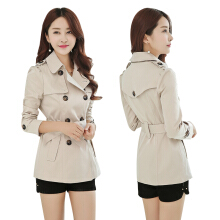 Women fashion collect waist brief paragraph double-breasted british wind lapel pure color trench coat