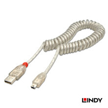 LINDY USB 2.0 Coiled Cable A to Mini B Transparent 2m - White