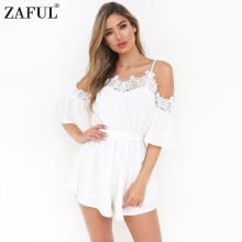 Women Sexy V Neck Short Pleated Rompers with Belt Slash Summer Boho Beach Casual Suit
