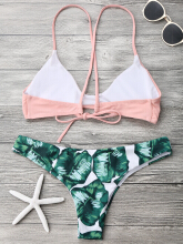 Cami Bralette Palm Leaf Bikini Set