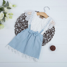 Sweet Girls Lace Denim Dress with Pockets (15)