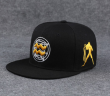 BAI B-202 Adjustable Baseball Cap MBL Hiphop cap with Aquarius design black&gold color