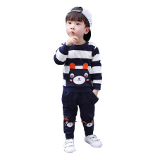 BESSKY Autumn Winter Kids Baby Girl Boy Clothes Set Striped Bear Tops+Pants Outfits_