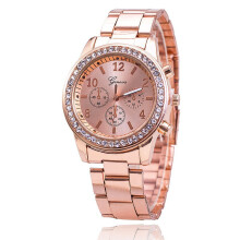 BESSKY Faux Chronograph Quartz Classic Round Ladies Women Crystals Watch _ Pink