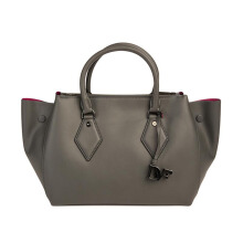 Diane Von Furstenberg Voyage Large Double Zip Sachel Leather - Slate Grey [H2340050D15]
