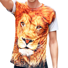 Mens Printing  3D Lion Short Sleeve Crew Neck Tee T-shirts