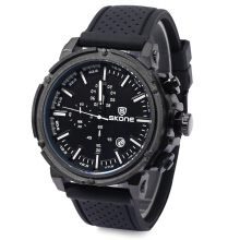 SKONE 5148EG Men Analog Date Chronograph Silicone Band Military Sport Quartz Wrist Watch