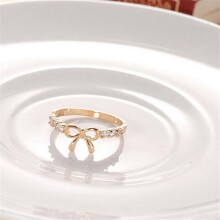 BESSKY Korean Jewelry Simple Crystal Bow Ring-