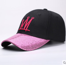 BAI B-284 Adjustable Baseball Cap MBL Hiphop cap with CROWN design Black&Pink color