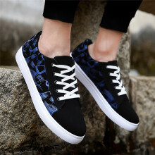 BESSKY Men's Casual Graffiti Printing Low Ankle Lace-up Flat Heel Sport Shoes_