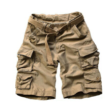 European and American fashion new men's large size multi-pocket camouflage overalls men loose Shorts Deep Khaki 3XL