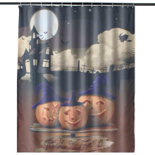 Hallowmas Pumpkin Lamp Pattern Mildew Resistant Fabric Shower Curtain Waterproof/Water-Repellent 150x180cm