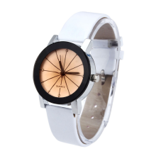 BESSKY WoMen Quartz Dial Clock Leather Wrist Watch Round Case- White