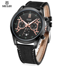 MEGIR 3016 Male Quartz Watch Chronograph 24 Hours Display Luminous Wristwatch