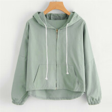 BESSKY Women Loose Long Sleeve Thin Sweet Ear Hooded Zipper Pockets Cute Short Coat _