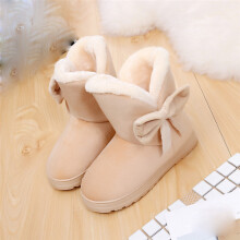 BESSKY Bowknot Warm Women Flats Shoes Snow Women Boots Autumn Winter Shoes Fashion_
