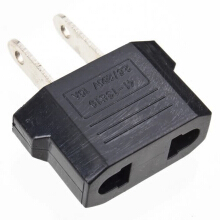 EU to US AC POWER PLUG ADAPTER Adaptor TRAVEL CONVERTER Black