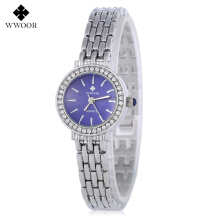 WWOOR 8810 Women Quartz Watch Water Resistance Artificial Rhinestone Dial Wristwatch