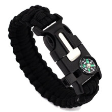 BESSKY 5in1 Outdoor rope Paracord Survival gear escape Bracelet Flint/Whistle/Compass - Black