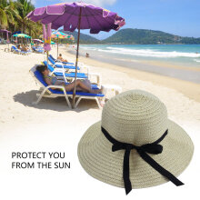 Elegant Women Summer Beach Hat New Wide Brim Style Sun Straw Floppy Hat