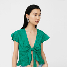 MANGO Bow Knot Blouse - Green