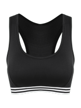 Stripe Trim U Neck Padded Sports Bra