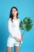 MOBILE POWER Ladies Tunic Brocade Combination - White L8331