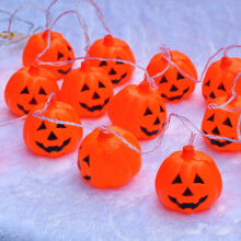 Halloween Pumpkin Hanging String LED Lights 16 Pcs Red