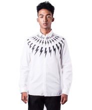 Neil Barrett Men White Lightning Bolt Prints Long Sleeve shirt L