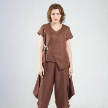 Rianty Basic Atasan Wanita Blouse Inez- Brown Brown All Size
