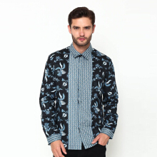 A&D Men Batik Shirt Long Sleve Ms 804 - Navy