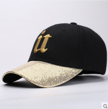 BAI B-253 Adjustable Baseball Cap MBL Hiphop cap with U design Black&Gold color
