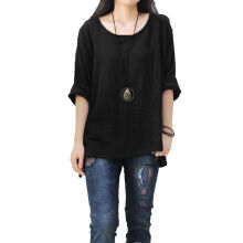 ZANZEA Ladies Round Neck Long Sleeve Shirt - Black