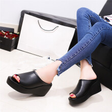 BESSKY Women Summer Fashion Leisure Fish Mouth Sandals Thick Bottom Slippers -