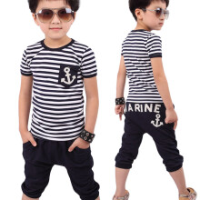 BESSKY New Summer Children Clothing Boys Navy Striped T-shirt And Pants Suits_
