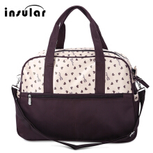 Multifunctional Heart Printed Baby Diaper Bag Mummy Handbag(Beige)